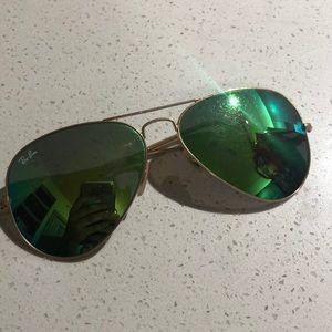 Ray Ban green/teal reflective aviators